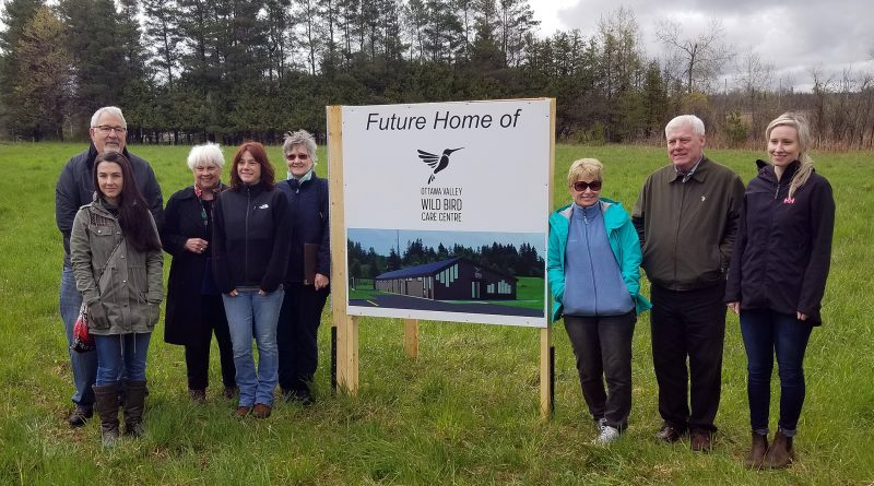 Board members pose for a photo at the new site of the bird care centre. In the back, from left, are Eric Garrison, Barbara Adams and Juliette Marczuk. In front at left are Kelly Reid and Mireille Goguen. At right are Cathy Bielak, Robert Burns and Jennifer Bushie. Courtesy the OVWBCC