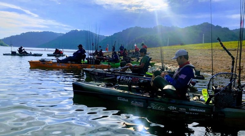 Competitors in the Pan American Bass Kayak Fishing Championship head out to fish. Courtesy Scott Barton