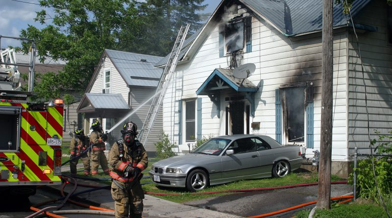 Despite quick action by the Arnprior Fire Department, this Bell Street home was destroyed by fire yesterday afternoon. Photo by Jake Davies