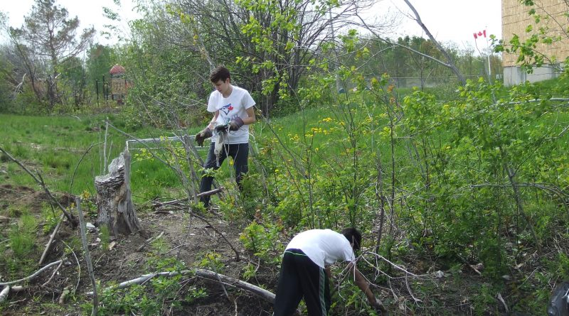 Earl of March students Andrew Davis and Fergus Stevens help clean Casey Creek. Photo by Lori McGrath