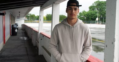Carp's Eric Faith poses for a photo at outdoor rink - a place he's visited more than a few times over the last seven years. Faith will be playing NCAA hockey this fall. Photo by Jake Davies