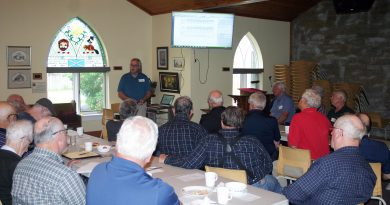 Retired Ontario Power Generation operations manager was the guest speaker at the Men's Ministry monthly breakfast meeting Saturday. Photo by Jake Davies