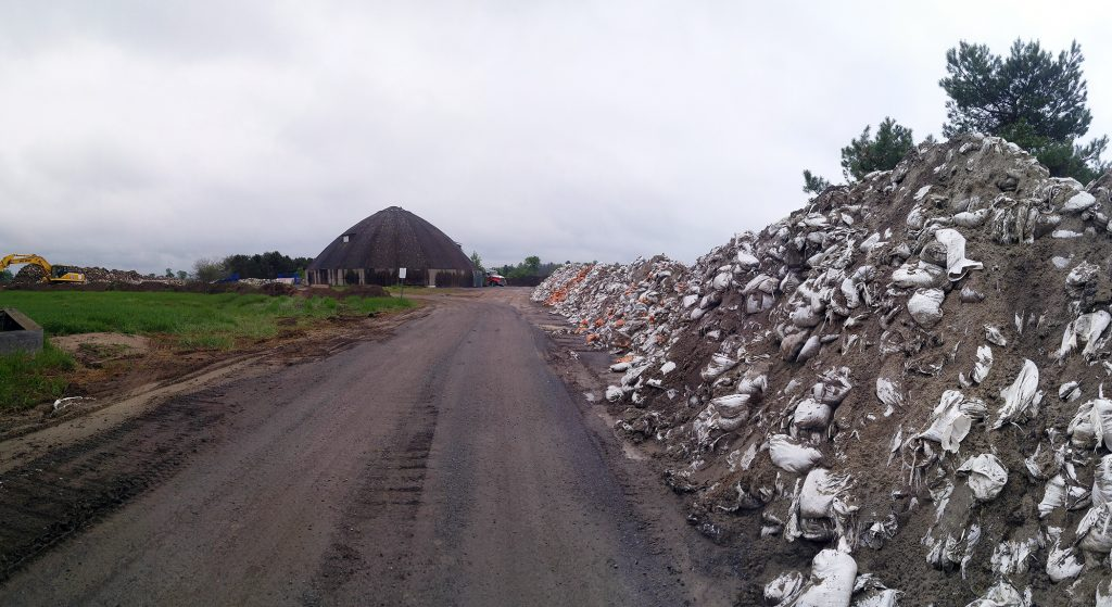Tens of thousands of used sandbags are stored at a city facility near Woodlawn. Photo by Jake Davies