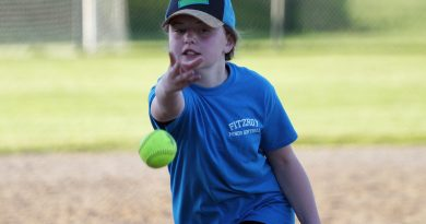 Fitzroy's Sadie Tanguay fires one in in U12 West Carleton Softball Association fastball action during the 2019 season. Photo by Jake Davies