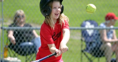 Carp RedBlack's Kenzie Kemp, 7, gets a hit with a smile on her face during WCSA Championship Day action June 22. Photo by Jake Davies