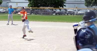 Kinburn's Will Herrick fires in a fastball against Fitzroy Harbour in the U14 championship game. Photo by Jake Davies