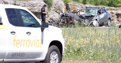An Ottawa police constable surveys the scene at a July 7, horrific multi-vehicle collision on Highway 417 near Panmure. Photo by Jake Davies