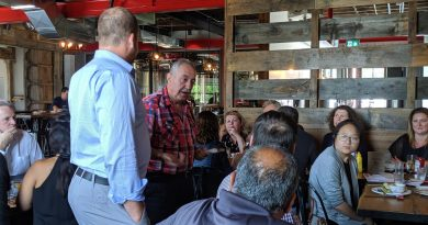 Coun. Eli El-Chantiry addresses city staff at the Ridge Rock Brewing Co. in Carp, July 24. Courtesy Coun. George Darouze