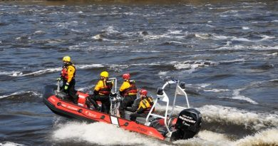 The OFS water rescue team attended to an early morning call to help a leaky sailboat. Courtesy OFS
