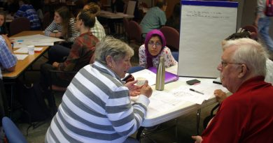 Discussion was lively at the June 11 sustainability workshop in Kinburn. Photo by Jake Davies