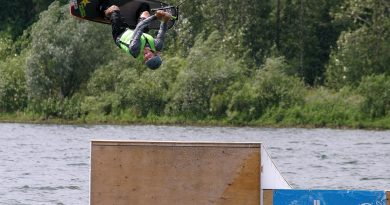 Evolution Wake Board's Jordan Sien catches big air during his run in the Advanced Division of last Saturday's wakeboard competition. Photo by Jake Davies