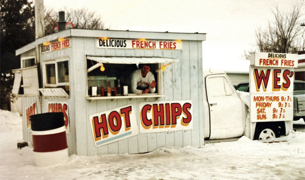 Wes' Chips co-owner André Post in the famous wagon in 1992. Courtesy Wes' Chips