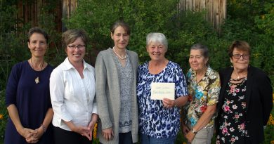 The Carp Ridge EcoWellness Centre made an $8,000 donation to the West Carleton Food Access Centre last Thursday (Aug. 15). From left are, Carp Ridge EcoWellness Centre owner Dr. Katherine Willow, centre board members Monika Miller, Chair Jacqui Ehninger, WCFAC's Sharon Roper and Mary Braun and board member Lisa Probst. Photo by Jake Davies