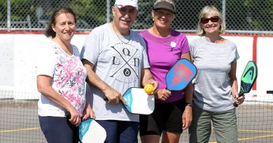 From left, pickleballers Maha El-Chantiry, Coun. Eli El-Chantiry, Connie Atherfold and Patricia MacRae pose for a photo before hitting the courts for a Sunday morning game. Photo by Jake Davies