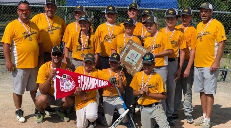 The WC U14 Electric include, in the back row, from left, Coach Josh Pennock, Coach Blair Armstrong, Will Potten, Zach Branchaud, Conner Hopper, Blake Bramburger, Will Herrick, Jack Armstrong and Coach Adam Brown. In the middle row are Taelyn Lecuyer holding the championship plaque, and Kobi Stevenson and Gabe Brown. In the front row, holding the championship banner is Coach Sean Lecuyer, Dawson Pennock and Hayden Khan along with Colton Lecuyer. Missing from the photo is Josh Langford. Courtesy WC Electric