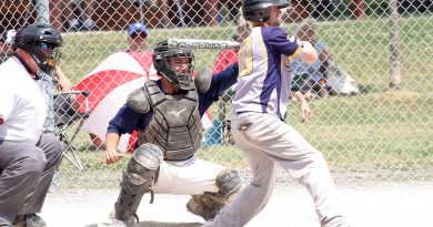 The West Carleton Electric's Andy Barber (batting) was named tournament MVP last weekend. Photo by Jake Davies