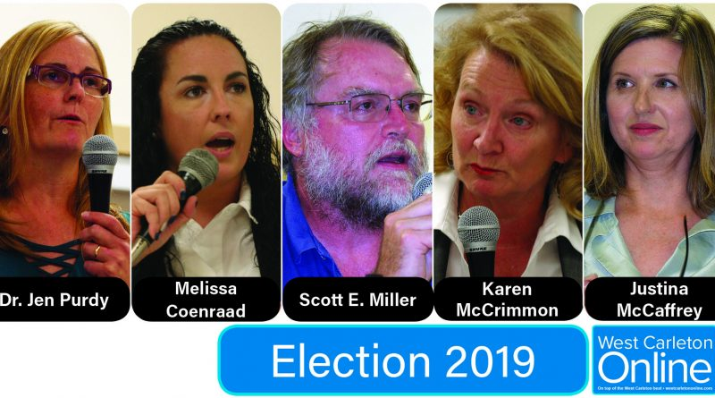 All five Kanata-Carleton federal election candidates were on hand for the first all-candidates debate for the riding in Kinburn last night (Sept. 24). Photos by Jake Davies