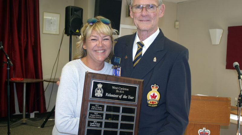 A surprise only to her, Lynda Boland was named Legion Branch 616 Volunteer of the Year during the branch's Legion Week Honours and Awards Ceremony Sept. 15. Branch President George Dolan made the presentation to Garden Gal. Photo by Jake Davies