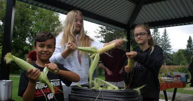 From left, young volunteers Kristjan Chute, 10, Zoe Riches, 12, and sister Lola Riches, 10, husk some corn at the Marathon Village Corn Roast last Saturday. Photo by Jake Davies