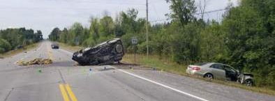 An early morning three-vehicle crash west of Corkery has left one woman dead and three others injured. Courtesy the OPP