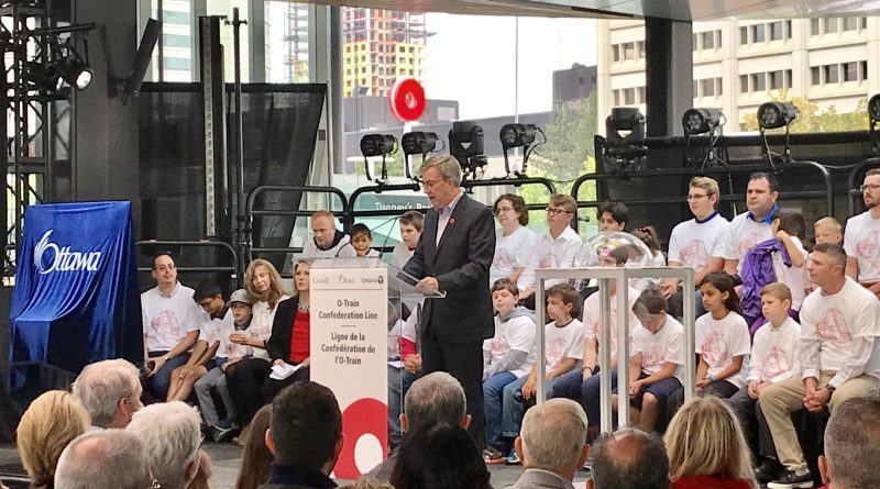 Mayor Jim Watson speaks at the launch of the O-Train's Confederation Line. Courtesy Jim Watson/Twitter