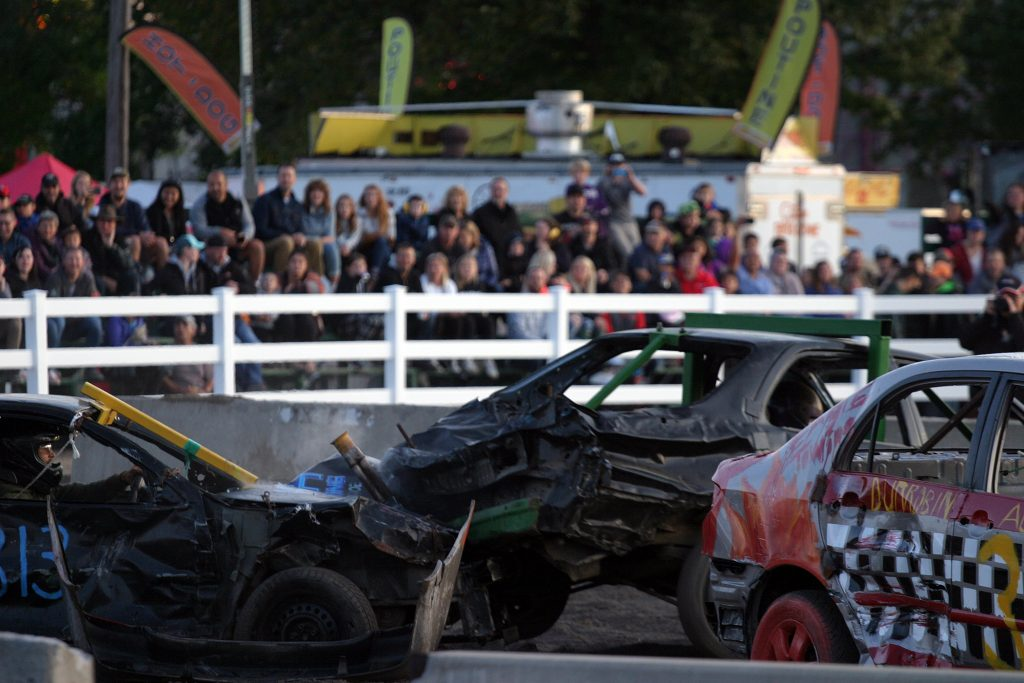 The Ontario Demolition Derby had big crowds and lots of action as drivers competed for $2,000 in prize money, and more importantly, bragging rights. Photo by Jake Davies