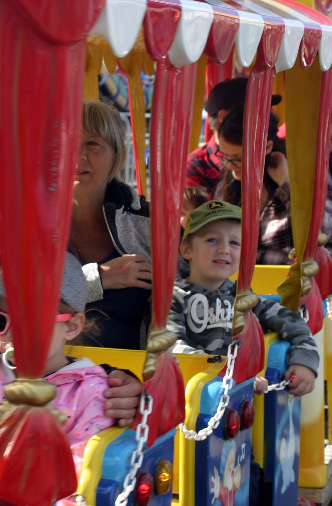 Clark McLaurin, 3, and his grandmom Lynn Levesque ride the rails. Photo by Jake Davies