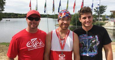 Darryl Clark came home with three medals from the recent canoe kayak national championships. In the photo, from left, are Carleton Place head coach Pat Lester, Darryl Clark and his K-2 partner Thomas Paquette Courtesy Gail Clarke.
