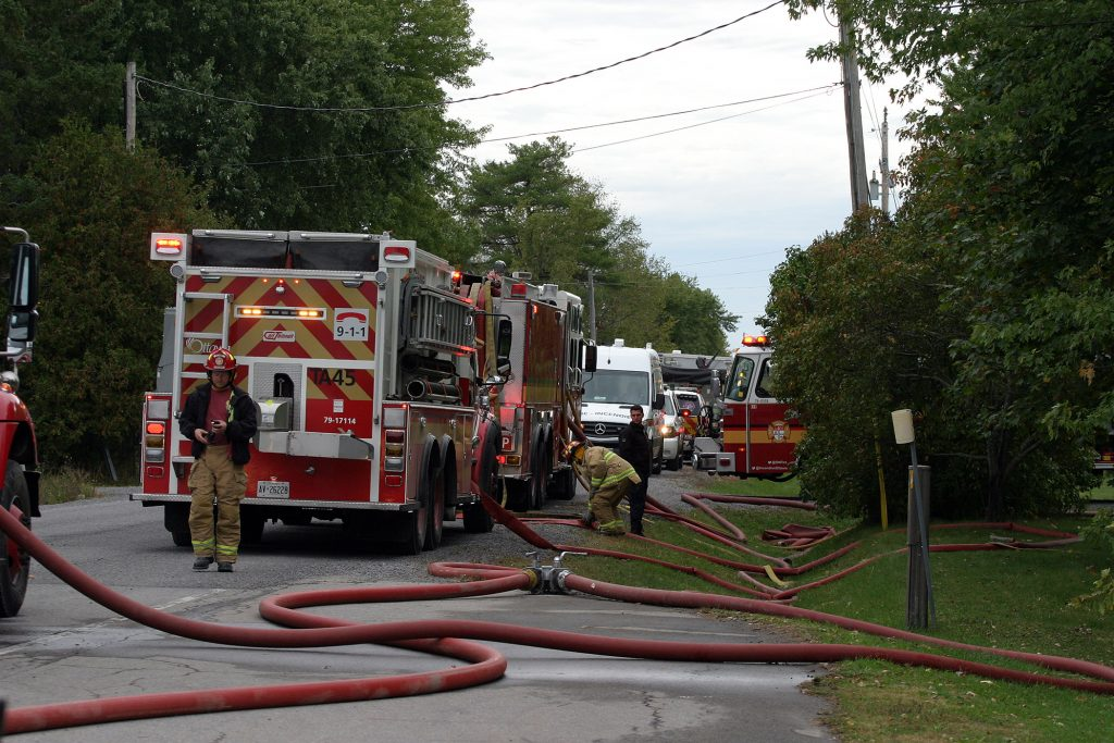 Around 45 firefighters from every West Carleton station responded to the Woodlawn blaze. Photo by Jake Davies
