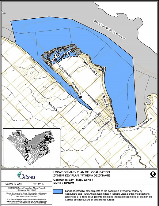 The City of Ottawa's new flood plain map for Constance Bay. Courtesy the City of Ottawa