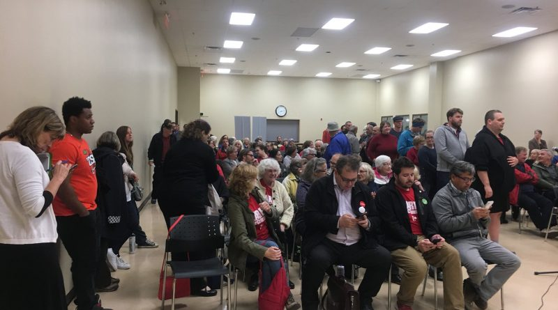 There were a long line of people with questions at last night's Kanata-Carleton debate on the environment at the Kanata Recreation Complex. Courtesy Ecology Ottawa/Twitter