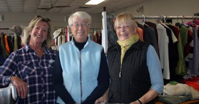 From left, Galetta rummage sale volunteers Barb Jowett, Sandra Fletcher and Pat Rose at last year's event. This year's event has been cancelled due to the pandemic. Photo by Jake Davies