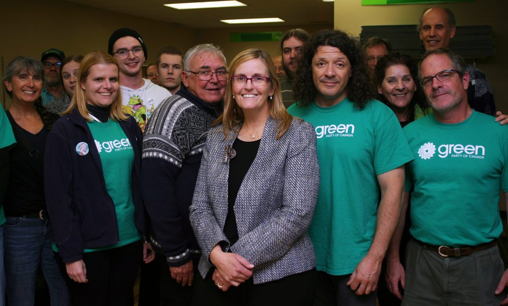 Kanata-Carleton Green Party Candidate Dr. Jennifer Purdy and her team pose for a photo just before polls close during Election Night (Oct. 21). Photo by Jake Davies
