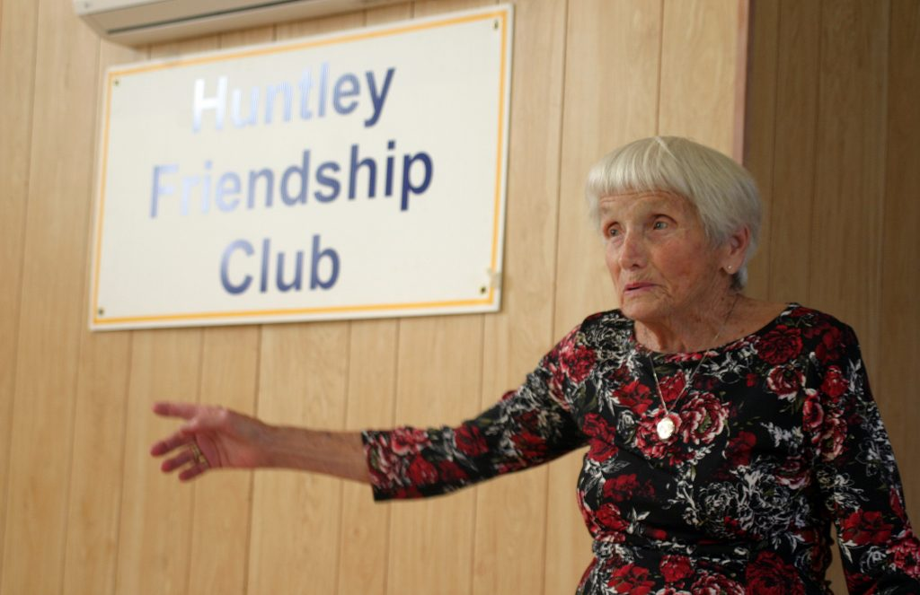 Huntley Friendship Club founder Fern Boyd, 93, talks about the history of the club at last week's meeting. Photo by Jake Davies