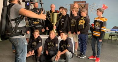 Film crews, Ron MacLean and the West Carleton Warriors were in Dunrobin Oct. 1 filming promos for this year's Good Deeds Cup challenge. Photo by Shelley Welsh