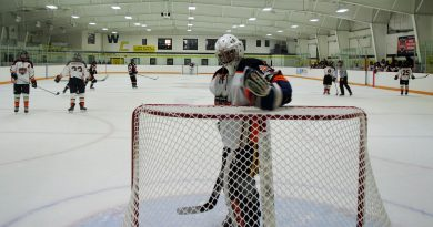 Inferno goalie Nathan Cheung has a 2-1 record and 4.54 GAA in four games this season. Photo by Jake Davies