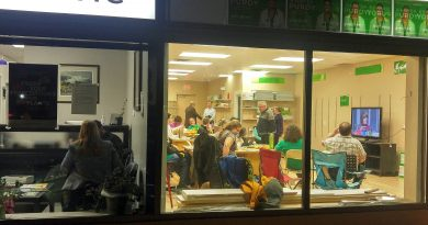 Green Candidate Dr. Jennifer Purdy does a media interview in her clinic (left) while supporters watch the election unfold in next door's campaign headquarters last night. Photo by Jake Davies