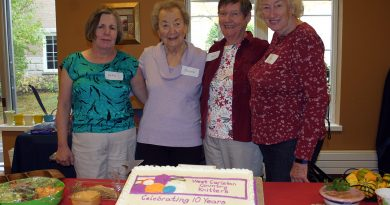 From left, are the West Carleton Country Knitters founding members Cathy Whittie, Margaret Miller, Paula Farmer and Mary Thorstensen-Woll. Photo by Jake Davies