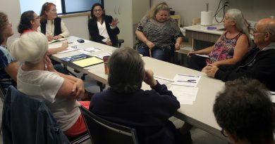 CBBCA 55+ director Tamara Awada, top middle, leads the discussion on programming for seniors in Constance Bay. Photo by Jake Davies