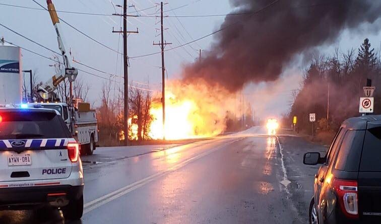 An early morning explosion led to a truck fire in Barrhaven. Courtesy Sgt Mark Gatien/Twitter