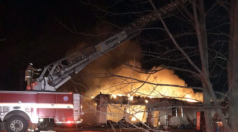 Constance Bay firefighters responded to an early evening fire last night on Dunrobin Road. Courtesy Chief BIll Bell/Twitter