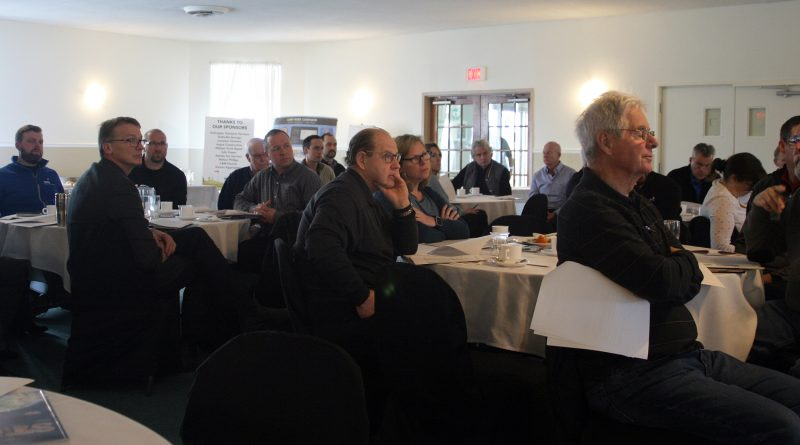 Around 40 CRCBIA business owners and landlords attened last week's AGM. Keynote speaker, the city's director or economic development sits at far left. Photo by Jake Davies
