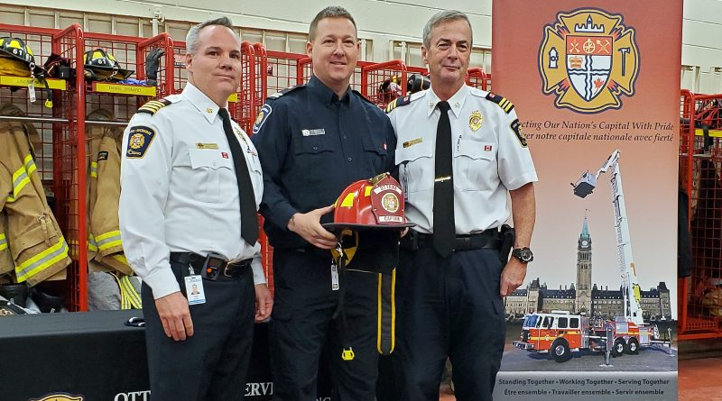 From left, Deputy Chief Todd Horricks, Capt. Luc Chauvin and District 6 Chief Bill Bell. Courtesy Laurie Chauvin