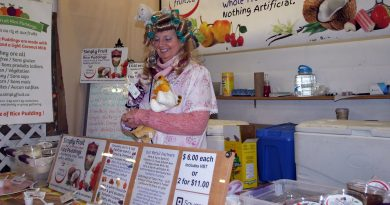 Simply Fruit Rice Puddings' Melanie Walker, dressed as a Crazy Cat Lady at the Oct. 26 Carp Farmers' Market, wrapped up her fifth year as a vendor. Photo by Jake Davies