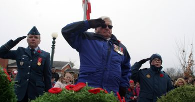 World War Two veteran, West Carleton's Dr. Roly Armitage salutes his fallen comrades after laying a wreath at the West Carleton War Memorial on Nov. 11. Photo by Jake Davies
