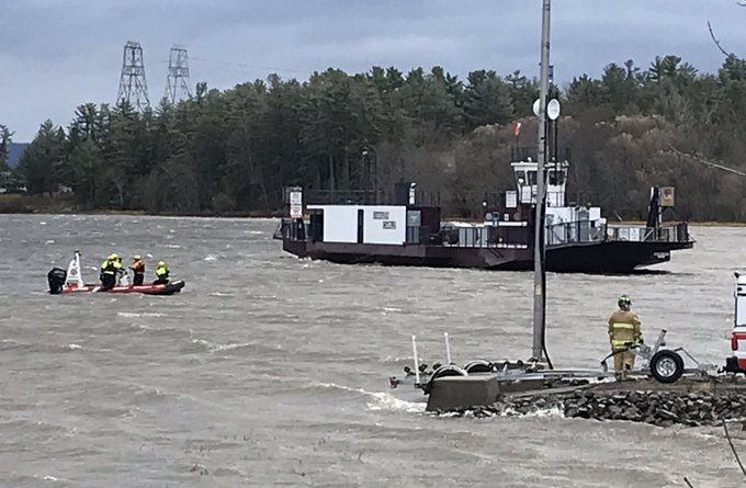 OFS water rescue crews provide safety oversight as the Quyon Ferry is secured. The ferry's cable snapped in this morning's high winds. Courtesy District 6 Chief Bill Bell/Twitter
