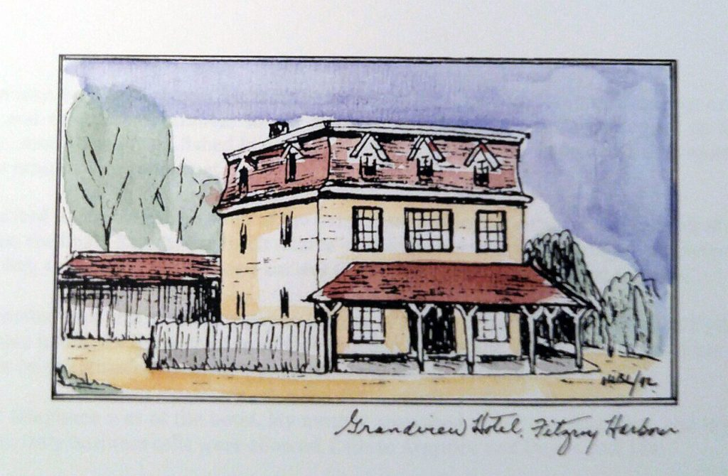 The Grand River Hotel, as drawn by Mary Baird Lougheed.