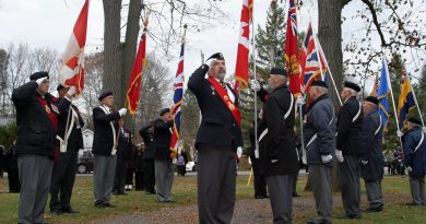 Branch 616 Seargent at Arms Rob Gallant salutes during the singing of the national anthem during the West Carleton Royal Canadian Legion's Remembrance Service on Saturday, Nov. 9 in Constanct Bay. Photo by Jake Davies