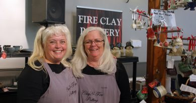 Fire Clay Pottery's Nicole Jones Bijkerk and Colleen Dooley said they were having a great time in the Harbour. Photo by Jake Davies