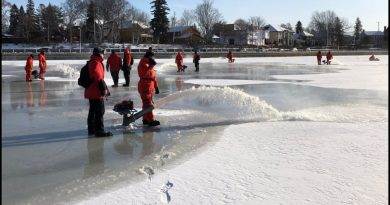 Rideau Canal skateway staff began work on the world's longest rink today. Courtesy NCC/Twitter